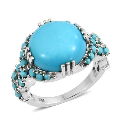 Cocktail Collection-Arizona Sleeping Beauty Turquoise (Rnd 6.75 Ct) Ring in Platinum Overlay Sterlin