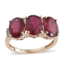 9K Yellow Gold AAA  African Ruby (Ovl), Diamond Ring 5.550 Ct.