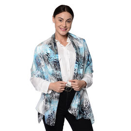 LA MAREY 100% Mulberry Silk Blue and Black Coral Print Scarf (165x50cm)