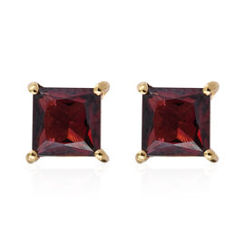 Rhodolite Garnet (Sqr) Stud Earrings (with Push Back) in 14K Gold Overlay Sterling Silver 1.750 Ct.