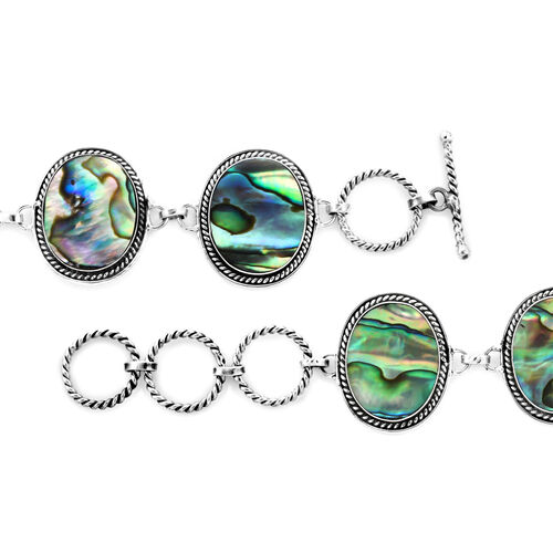 Royal Bali Collection - Abalone Shell Bracelet (Size 7 with 1 inch Extender) with T-Bar Clasp in Sterling Silver, Silver wt 11.00 Gms