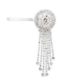 White Austrian Crystal Hair Pin in Silver Tone