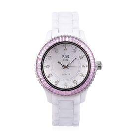 EON 1962 Swiss Movement Diamond Studded White Ceramic Watch- Pink