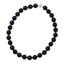 Extremely Rare Size 741.50 Ct Black Obsidian Beaded Necklace in Sterling Silver 20 Inch