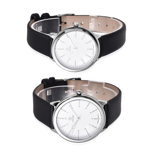 Set of 2 STRADA Japanese Movement Water Resistant  Cream Colour Dial Watch with Black Strap
