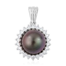 ILIANA AAAA Tahitian Pearl and Diamond Halo Pendant in 18K White Gold