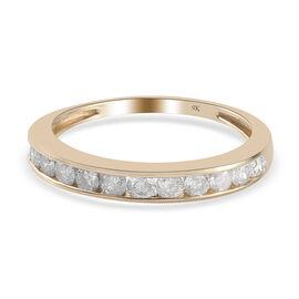 9K Yellow Gold SGL Certified Diamond (I3/G-H) Ring 0.50 Ct