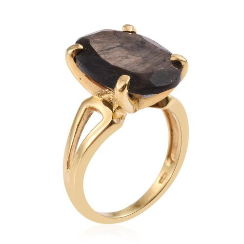 Natural Zawadi Golden Sheen Sapphire (Ovl) Ring in 14K Gold Overlay Sterling Silver 15.750 Ct. Silver wt 5.19 Gms.