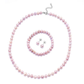 3 Piece Set -  Freshwater Purple Pearl Bracelet (Size 7), Stud Earrings (with Push Back) and Necklac