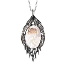 Carved Cameo and Grey Austrian Crystal Cameo Drop Pendant with Chain in Stainless Steel 24 Inch