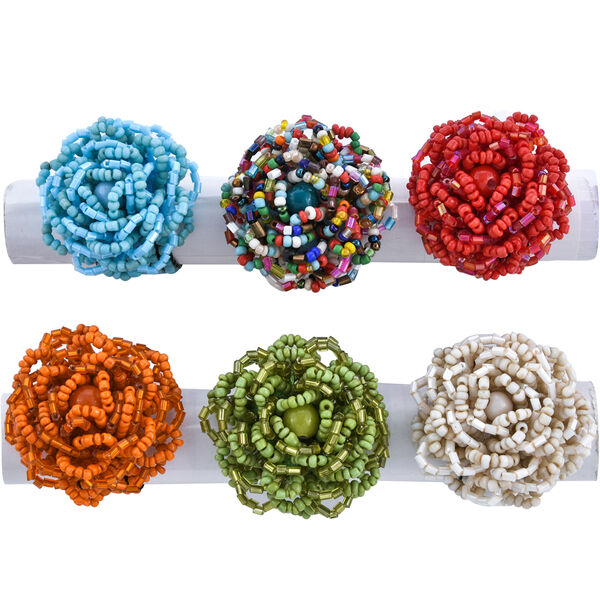 6 Piece Set Multi Colour Beads Stretchable Ring