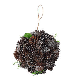 Christmas Decor Pinecones Drop Shot Embellished with Leaves (Size 24x24cm)