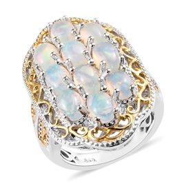 3 Carat Ethiopian Welo Opal Cluster Ring in Platinum and Gold Plated Silver 8.43 Grams