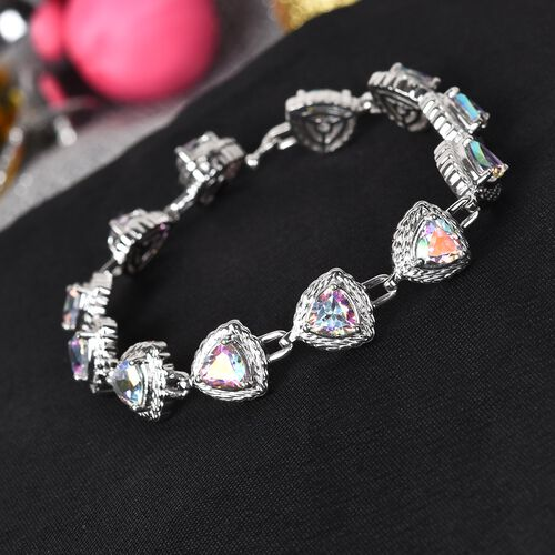 Mercury Mystic Topaz and Diamond Bracelet (Size 7.50) in Platinum Overlay Sterling Silver 11.51 Ct, Silver wt. 14.00 Gms