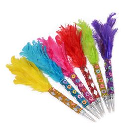 Set of 6 - Multicolour Feather Pens