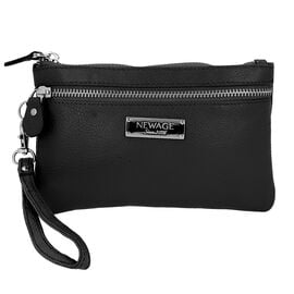 100% Genuine Leather Wristlet  Pouch with Zipper Closure (Size 12x18 Cm) - Black