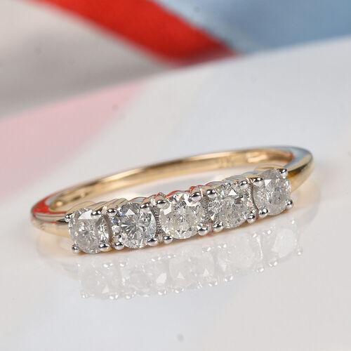 9K Yellow Gold SGL Certified Diamond (I2-I3/G-H) Five-Stone Ring  0.50 Ct.