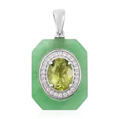 AA Hebei Peridot, Green Jade and Natural Cambodian Zircon Pendant in Rhodium Overlay Sterling Silver