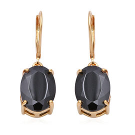 14 Carat Boi Ploi Black Spinel Solitaire Drop Earrings with Lever Back in Gold Plated Silver
