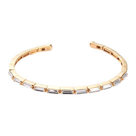 J Francis Crystal from Swarovski White Colour Crystal Cuff Bangle (Size 7.5) in Yellow Gold Tone