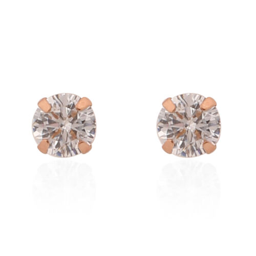 New York Close Out Deal- 9K Rose Gold Cubic Zirconia (Rnd) Stud Earrings (with Push Back)