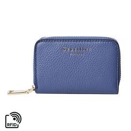 Sencillez 100% Genuine Leather RFID Protected 11 Slots Card Holder Wallet (Size 12x2x8 Cm) - Blue