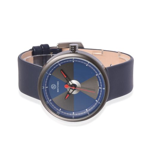 STRADA Japanese Movement Blue and Grey Colour Dial Water Resistant Watch with Blue Colour Strap