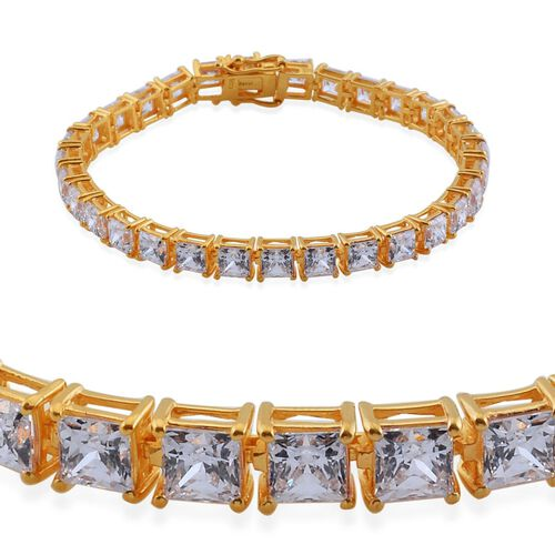 J Francis - 14K Gold Overlay Sterling Silver (Sqr) Bracelet (Size 7.5) Made with SWAROVSKI ZIRCONIA 20.590 Ct.