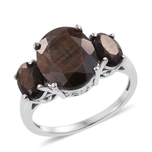Natural Zawadi Golden Sheen Sapphire (Ovl 5.50 Ct) 3 Stone Ring in Platinum Overlay Sterling Silver