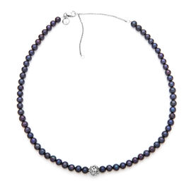 RACHEL GALLEY Freshwater Pearl (Rnd) Necklace (Size 20) in Rhodium Overlay Sterling Silver, Silver w