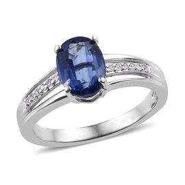 Kashmir Blue Kyanite (Ovl), Natural Cambodian Zircon Ring in Platinum Overlay Sterling Silver 1.650