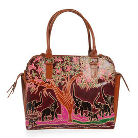 100% Genuine Leather Tan, Black and Multi Colour Handpainted Tree with Elephant RFID Blocker Tote Bag with External Zipper Pocket (Size 35x33x28x14 Cm)