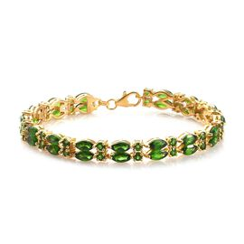 15.97 Ct Russian Diopside Tennis Bracelet in Gold Plated Sterling Silver 7.5 Inch