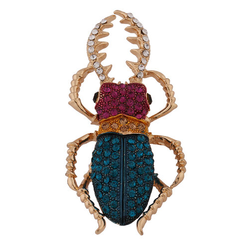 Multi Colour Austrian Crystal Beetle Brooch in Yellow Gold Tone