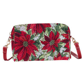 SIGNARE-Tapestry Collection - Xmas Poinsettias Shoulder Hip Bag (20x12x9.5cm)
