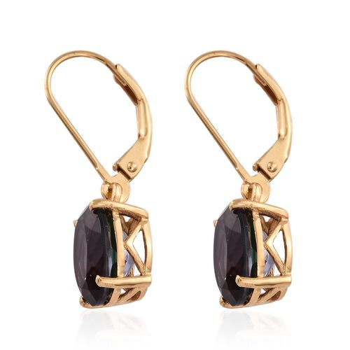 Alexandria Quartz (Ovl) Lever Back Earrings in 14K Gold Overlay Sterling Silver 5.500 Ct.