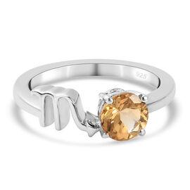 AA Citrine Zodiac-Scorpio Ring in Platinum Overlay Sterling Silver 0.75 Ct.
