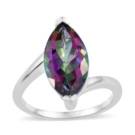 Northern Lights Mystic Topaz (Mrq) Ring in Platinum Overlay Sterling Silver Ring 4.500 Ct.