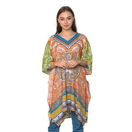 Orange and Multi Colour Digital Printed Kaftan One Size (90x75 Cm)