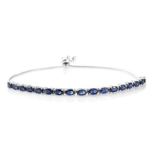 9K White Gold AA Kanchanaburi Blue Sapphire (Ovl) Adjustable Bracelet (Size 6.5 to 9.5) 4.750 Ct, Gold wt 6.08 Gms