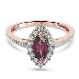 Tanzanian Wine Garnet and Natural Cambodian Zircon Ring in Rose Gold Overlay Sterling Silver 1.05 Ct