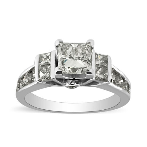 NY Close Out 14K White Gold Diamond (GH/11) Ring 2.00 Ct., Center Dia 1.00 Ct. Solitaire