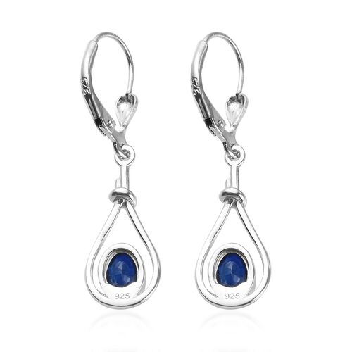 Tanzanian Blue Spinel Lever Back Earrings in Platinum Overlay Sterling Silver 1.00 Ct.
