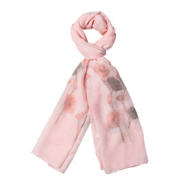 Peach Colour Flower Pattern Scarf (Size 180x70 Cm)
