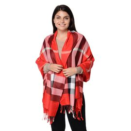 Plaid Pattern Scarf with Tassels (Size 70x180cm) - Red