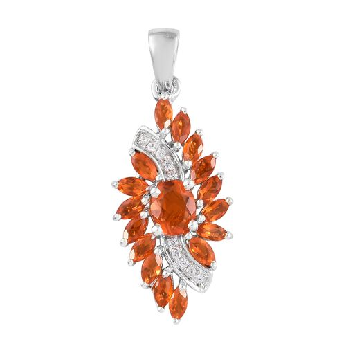 WEBEX- Jalisco Fire Opal (Ovl), Natural Cambodian Zircon Pendant in Platinum Overlay Sterling Silver 1.500 Ct.