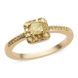 9K Yellow Gold Natural Yellow Diamond (Cush and Rnd) Ring 0.390 Ct