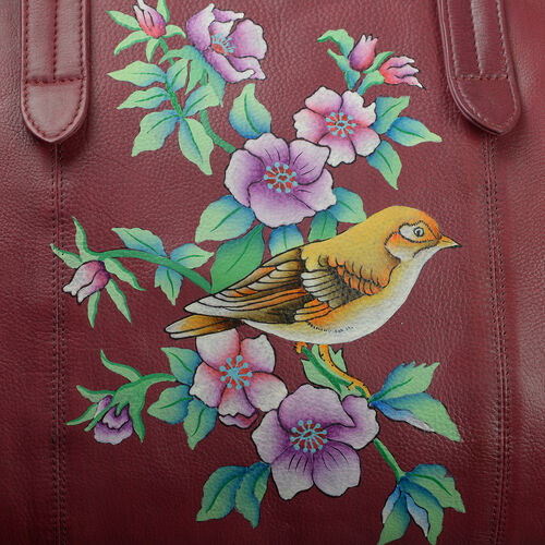 Massive Clearance Deal Top Grain Genuine Leather Hand Painted Floral and Bird Large Tote (Size 39X30X8 Cm)