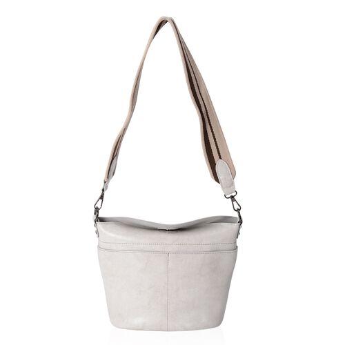 Super Reduction Deal 100% Genuine Leather Off White Colour Shoulder Bag with Removable Shoulder Strap (Size 28x25x22x13 Cm)