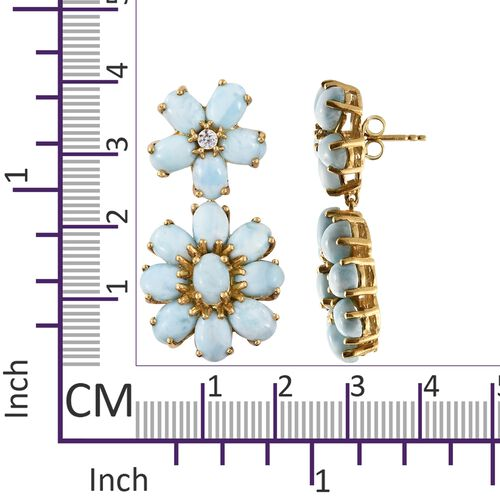 Larimar (Ovl), Natural Cambodian Zircon Flower Earrings (with Push Back) in 14K Gold Overlay Sterling Silver 24.500 Ct. Silver wt 9.23 Gms.